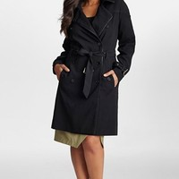Plus Size Women's Mynt 1792 Faux Leather Trim Double Breasted Trench Coat