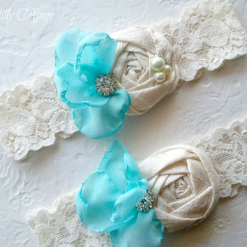 Bridal Wedding Garter Set Tiffany Blue Chiffon with Ivory Dupioni Rosette Pearls and Rhinestones Toss Garter Included Wedding Garter Set