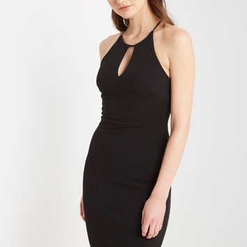 Black Jules Ribbed Bodycon Dress