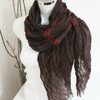 Brown men scarves, Flax men scarves, Big size men scarf, Organic linen scarf, Brown brick scarf, Striped scarf men, Boho Hippie scarf