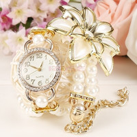 Hot Fashion Wrap  Beads Flower Chain Necklace Bracelet Quartz Wristwatches Women Dress Watches (Color: White) = 1745408388