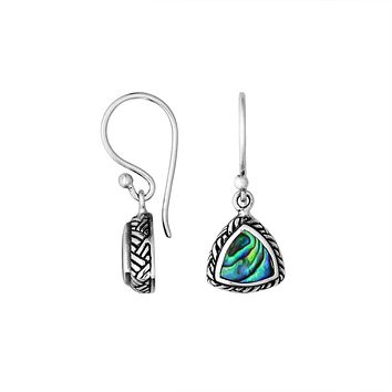 AE-6217-AB Sterling Silver Trillion Shape Earring With Abalone