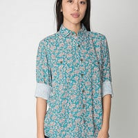 Unisex Printed Rayon Long Sleeve Button-Up