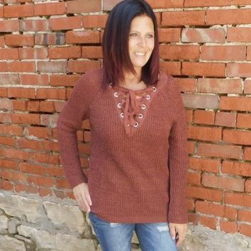 Rust Laced Knit Sweater