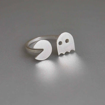 Ghost of the Past Retro Lovers Pac Man Arcade Game Open Adjustable Sterling Silver Ring Geekery Statement Happy Ring Friends Gift Halloween