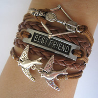 Combined Bracelet / Antiquied Silver Disney Brave Merida Bow , Best Friend, Love Birds Bracelet, Brown Braid, Wax Cords / Friendship Gift