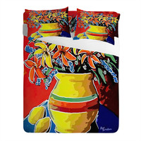 Renie Britenbucher Stylized Lillies And Lemons Sheet Set