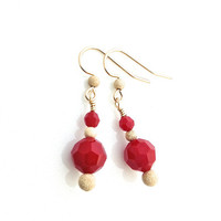 Red Crystal Earrings, Gold Filled Stardust, Red Coral Earrings, Coral Dangle, Small Red Earring, Gold Earwire, Petite Red Earring
