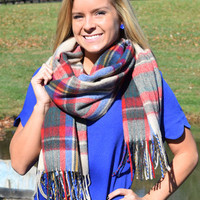 When The Nights Get Cold Scarf, Blue & Fringe