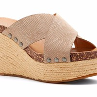 Lucky Brand Neeka Feather Grey Wedge Slide Sandals
