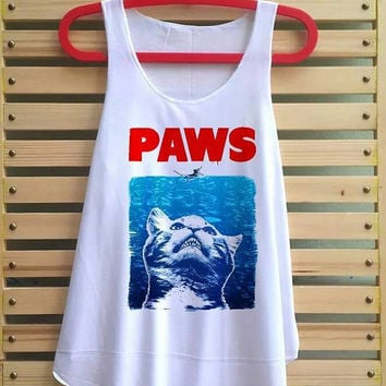 Paws shirt tank top vintage tshirt vest tee tunic sleeveless - size S M L