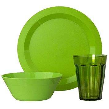 Cambridge Plate, Bowl and Tumbler Dinnerware 12 Piece Set Green