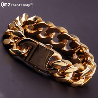 20mm 21.5cm High Quality Stainless Steel Gold Silver Curb Cuban Chain Link Thick Heavy Bracelets Rapper Men Women Dropshipping