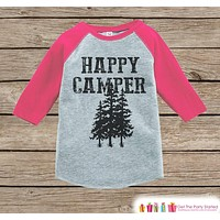 Girl's Happy Camper Tree Outfit - Pink Raglan Shirt, Onepiece - Kids Baseball Tee - Camp Shirt for Baby, Toddler, Youth - Adventure Clothing