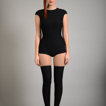 Black Bodysuit Leotard, Cotton Bodysuit Top, Short Sleeve Top, Avant Garde Clothing, Sexy Outfit, Goth Clothing, Dance Leotard, Rave Leotard