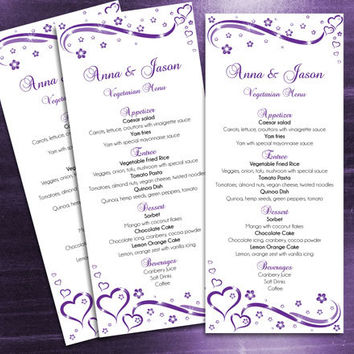 DIY Printable Wedding Menu Template | Editable MS Word file | 4 x 9.25 | Instant Download | Purple Heart Romance