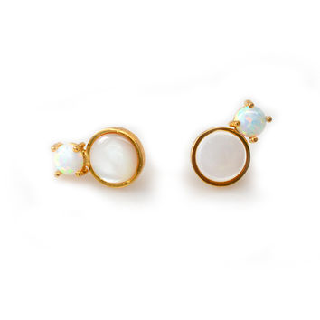 Amalfi Duo studs with Pearls and Opals