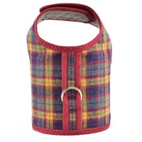 Grey Red & Navy Plaid Bushed Cotton Flannel Dog Cat Vest Harness