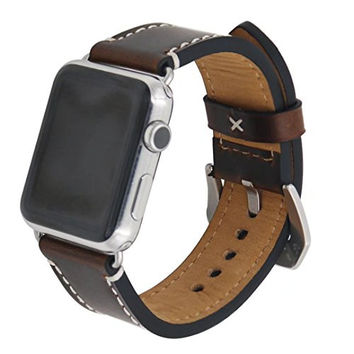 Vintage Genuine Crazy Horse Leather Wrist Strap Replacment with Large Classic Stainless Steel Buckle Clasp for iwatch Apple Watch Band Series 1 Series 2,42mm,Coffee