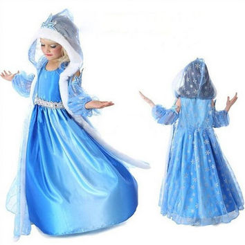 Frozen Elsa Snow Queen Dress with Cape