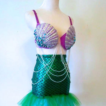 The Little Plurmade size: 34B Rave Bra / EDC Outfit #plurmaid #mermaid #ravebra #edc
