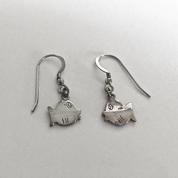 Sterling Silver French Hook Earrings with Adorable Fish Dangles, Finding Nemo Earrings, Fun and Casual Fish Earrings