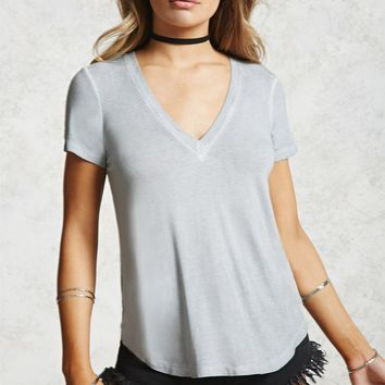 Faded Wash Deep V-Neck Tee