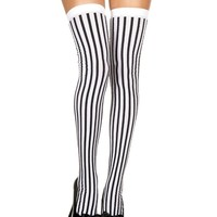 Black/White Striped Stocking Thigh High