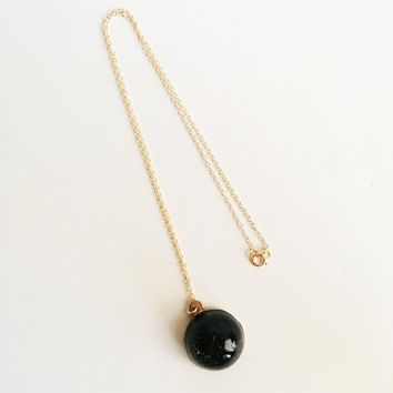 Women's Black Tourmaline P.O.M. Gemstone Candy Necklace - Made in USA - Free Shipping