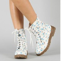 Blue Floral Combat Boots Mid Calf Flower Print Military Lace Up Pretty Fashion
