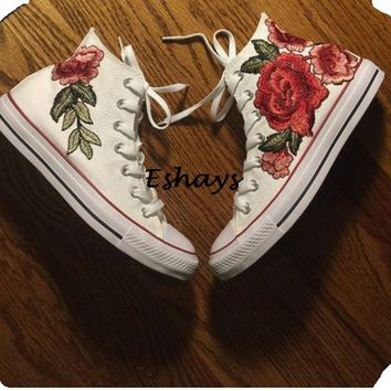 Rose Floral High Top Converse Chuck Taylors