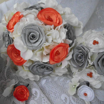 Wedding Bouquet, Fabric Flower, Bridesmaid, Custom, Bridal Bouquet, Fabric Bouquet, Pearl, White, Champagne, Weddings, Package, Orange, Grey