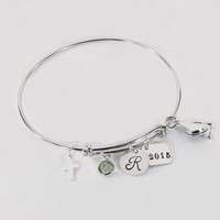 Personalized Graduate Graduation Initial Charm Bracelet with Cross, Graduation Bangle with Sterling Grad Cap Charm and Crystal Birthstone