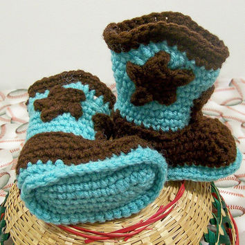 Crochet Boots,  Western Baby Cowboy Boots, Turquoise and  Brown, Baby Boy Gift, Baby Shower Gift, Handmade Baby Boots, Made in the USA, #207