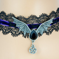 Black Lace Purple Velvet Choker with Bat Wing Black Stone Pendant Gothic Jewelry