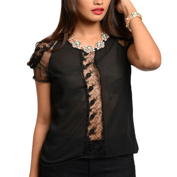 Sheer Lace & Chiffon Dressy Top