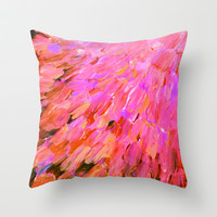 SEA SCALES IN PINK - Hot Pink Feminine Beach Ocean Waves Feathers Abstract Acrylic Painting Fine Art Throw Pillow by EbiEmporium | Society6