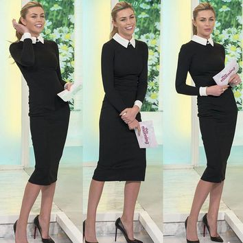 Career Women Spring Turn Down Collar Fitted Work Dress Vintage Bodycon Elegant Business Formal Ol Office Pencil Bodycon Midi Dress Black Hot