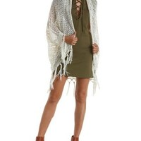 Ivory Open Knit Fringe Cocoon Cardigan Sweater by Charlotte Russe
