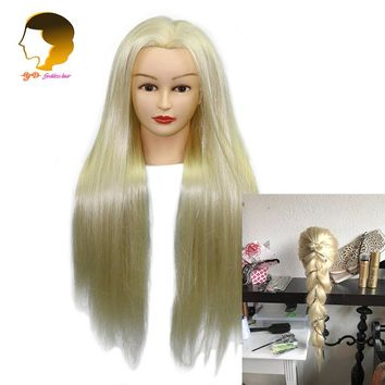 24Inch Mannequin Head With Synthetic Hair Hairdressing Plastic Dolls Head Hair Styling Dummy For Hairstyles Makeup Practice Head