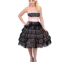 Unique Vintage 1950s Style Black & Pink Strapless Lace DeCarlo Prom Dress
