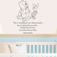 Wall Decal Vinyl Sticker Decals Art Decor Design Cartoon Winnie The Pooh and Piglet You are Brave Kids Children Nursery Bedroom(r38)