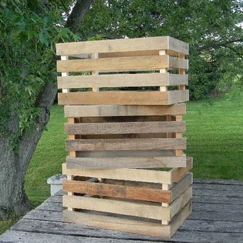 Reclaimed Wood Crate, Rustic Wooden Storage Crate, Display Box, Display Crate. Three Crates