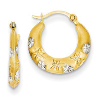 14K & Rhodium Hoop Earrings TL732