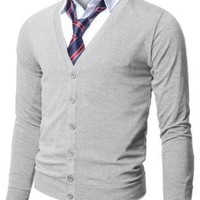 Doublju Mens Stylish Button Down Comfortable V-Neck Cardigan GRAY,(US XL)