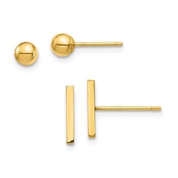 14k Yellow Gold Bar and Ball Post Earrings Set