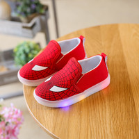 Hot SALE Children Shoes Spring Autumn Spiderman Canvas Flasher Fashion Sports Sneakers Kids Sport Brand Boys LED Light Shoes