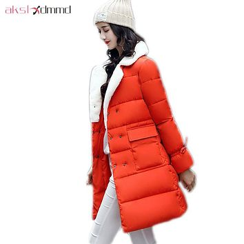 AKSLXDMMD Fashion Winter Coat Female 2017 New Thick Camel Mid-long Jacket Student Winter Jacket Women Parkas Mujer LH1218