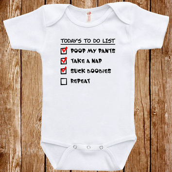Funny Baby Infant Bodysuit Clothes One Piece Romper Joke Boy Girl Baby To Do List Fun Geek Adorable Cute Shower Gift