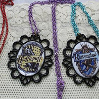 Harry Potter - All 4 HOGWARTS School Crest Necklaces- HP Gear